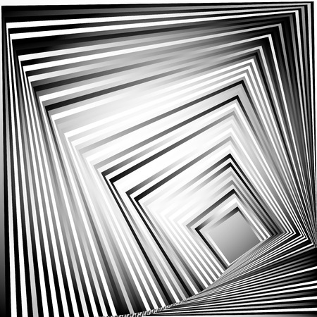 inward: Rotating squares. Abstract geometric monochrome illustration. Spiral, vortex squares inward