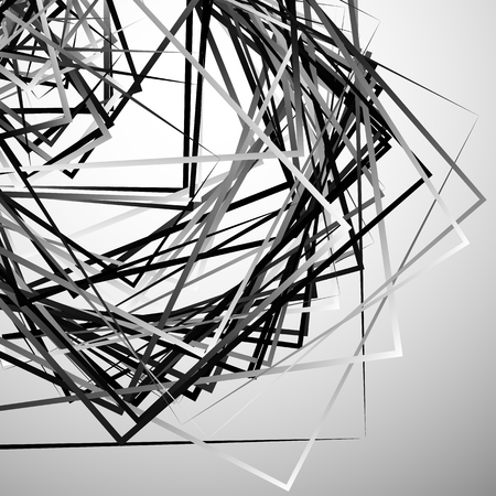 angular: Edgy angular monochrome geometric illustration with intersecting random squares