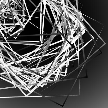 tense: Edgy angular monochrome geometric illustration with intersecting random squares