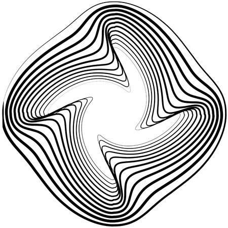 twisty: Twisty, spirally shape abstract monochrome geometric element.
