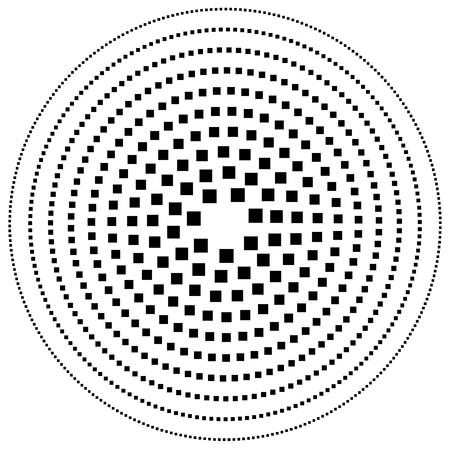 gyration: Dotted circular element. Mononochrome black and white illustration on white.