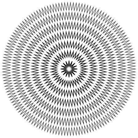 monocrome: Edgy, jagged circular, circle element. Concentric shapes with distortion effect. Abstract design element. Illustration