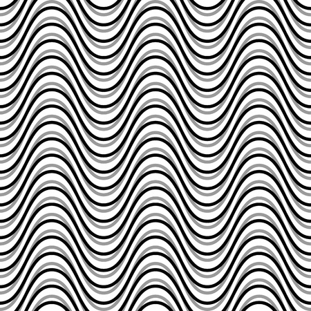 billow: Wavy, billowy, undulating lines. Seamless geometric monochrome pattern  texture.