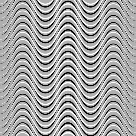 billowy: Wavy, billowy, undulating lines. Seamless geometric monochrome pattern  texture.