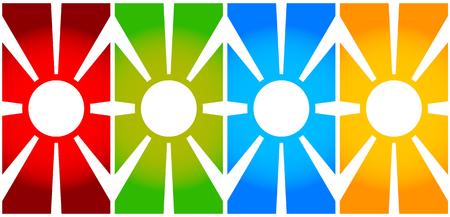 centric: Simple vertical banners with sun symbol. Monochrome sunburst, starburst elements.