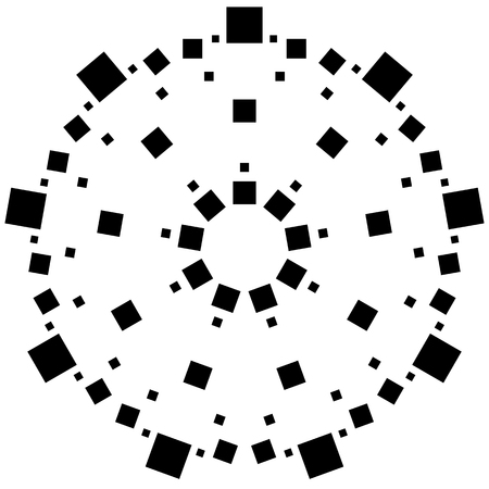 rotating: Circular element made of squares. Squares rotating. Abstract monochrome design element on white Illustration