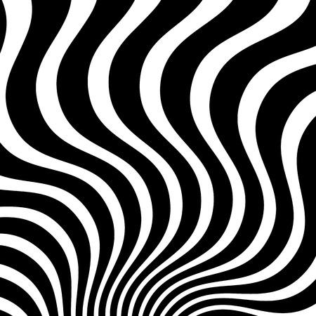 Wavy, waving - zigzag radial lines. Abstract monochrome background Vektorové ilustrace