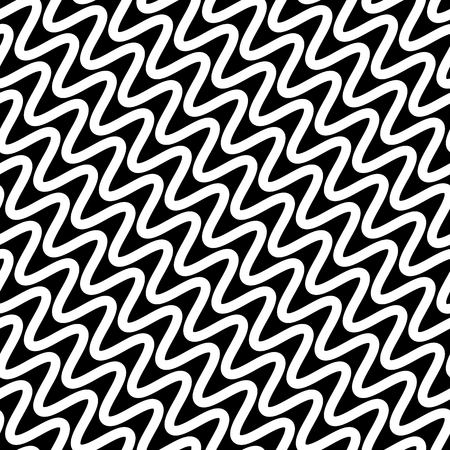 squiggly: Wavy diagonal parallel lines. seamless, repeatable monochrome pattern