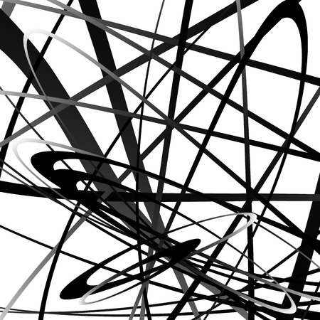 abstractionism: Abstract squiggle, squiggly, curvy lines. Monochrome geometric pattern.