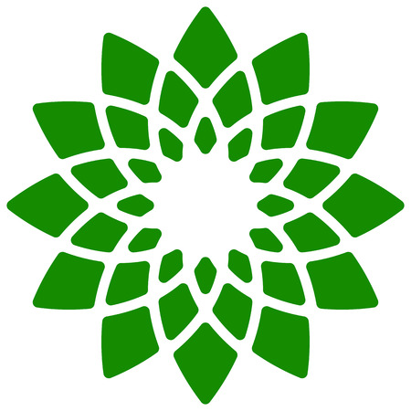 simple purity flowers: Leaf, plant icon. Circular geometric motif with petals.