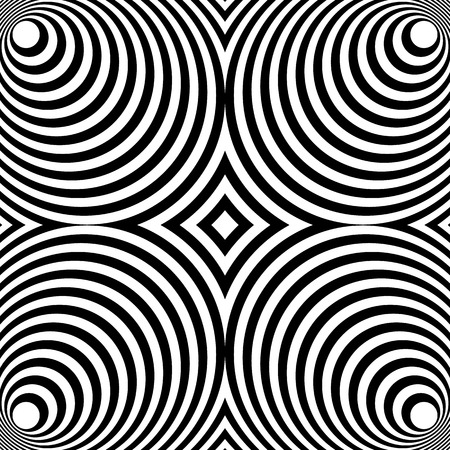 Mirrored symmetrical pattern with concentric circles. Abstract monochrome texture.