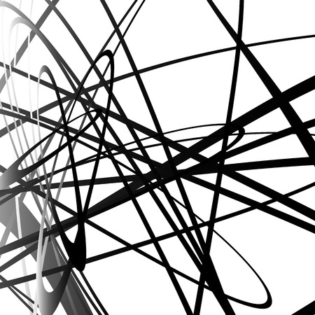 Abstract squiggle, squiggly, curvy lines. Monochrome geometric pattern.