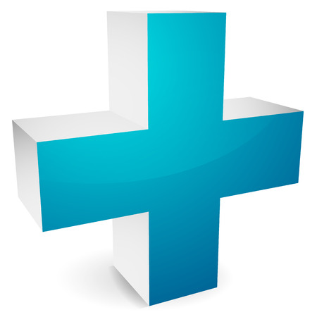 polyclinic: 3d cross with shadow for healthcare