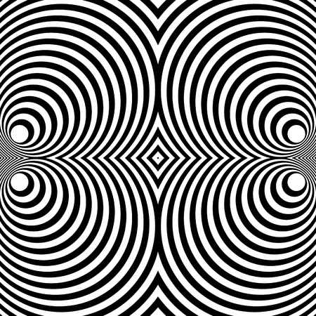 square shape: Mirrored symmetrical pattern with concentric circles. Abstract monochrome texture. Illustration