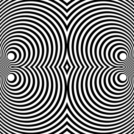 symmetrical: Mirrored symmetrical pattern with concentric circles. Abstract monochrome texture. Illustration