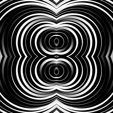 circulos concentricos: Concentric circles, rings abstract pattern. Monochrome geometric illustration. Vectores