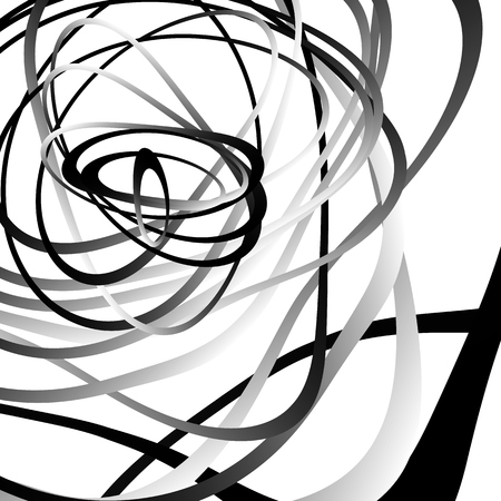 billow: Abstract squiggle, squiggly, curvy lines. Monochrome geometric pattern.