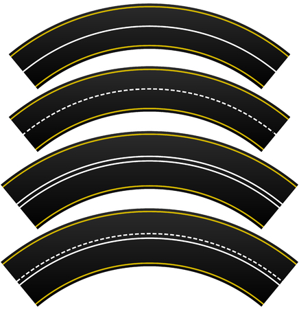 Set of 4 road, highway, roadway shapes. Dashed and straight lines isolating lanes. Empty roads. Illustration