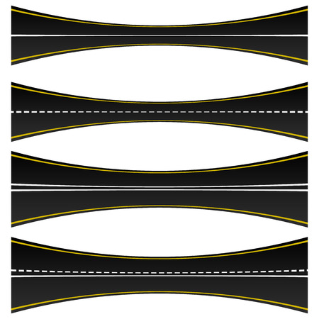 two lane highway: Set of 4 road, highway, roadway shapes. Dashed and straight lines isolating lanes. Empty roads. Illustration