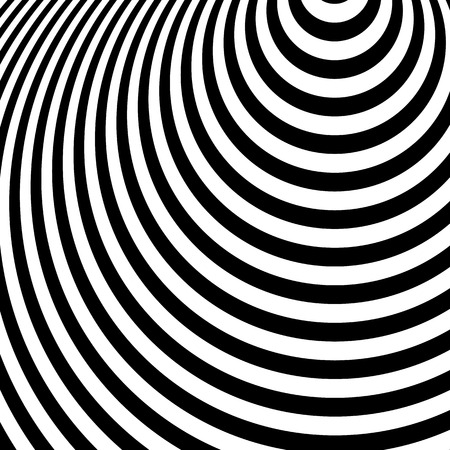 Concentric circles, ovals. Radial, radiating circles pattern. Ripple, radiation effect. Monochrome geometric pattern.