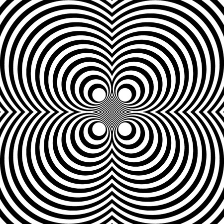 mirrored: Mirrored symmetrical pattern with concentric circles. Abstract monochrome texture. Illustration