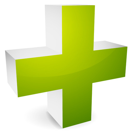 infirmary: 3d cross with shadow for healthcare