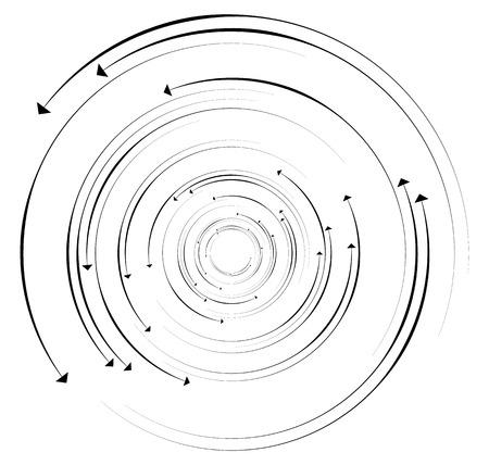 turbulence: Concentric, circular arrows. Random dynamic circle arrows.