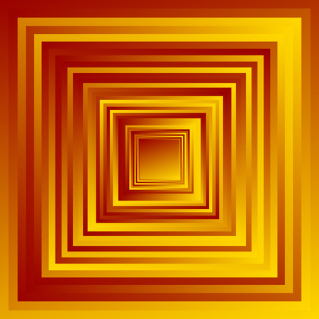 tinge: Radiating overlapping square shapes with random gradient fills. Colorful abstract geometric background.