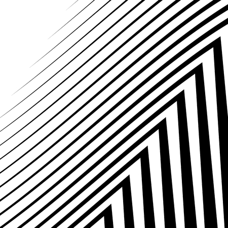 abstractionism: Lines with distortion. Edgy, wavy lines monochrome geometric pattern.
