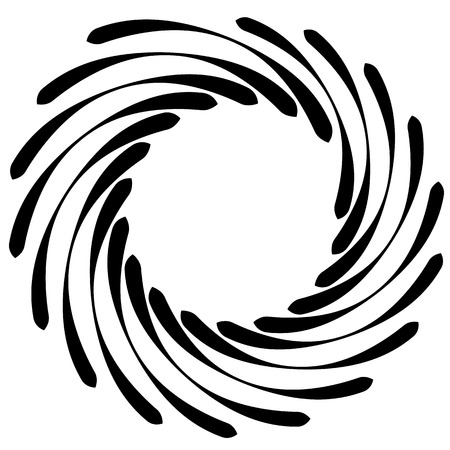 revolved: Spiral element. Concentric swirling shape with lines rotating inwards. Helix, volute illustration.