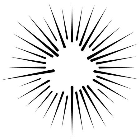 radiating: Abstract illustration of a circular pattern with radial, radiating lines. Illustration