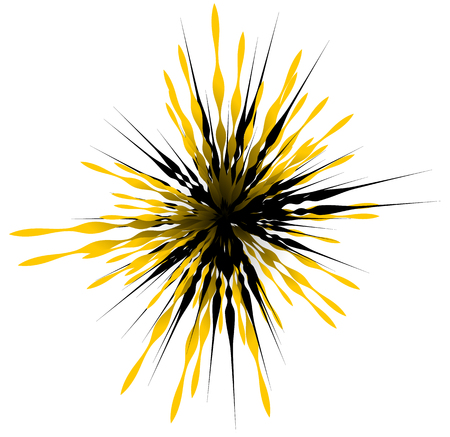 tense: Element with random lines rays radiating. Abstract burst shape.