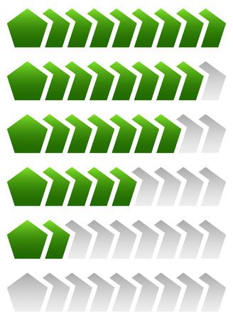 increment: Progress, loading bars. Geometric step, phase indicators, meters.