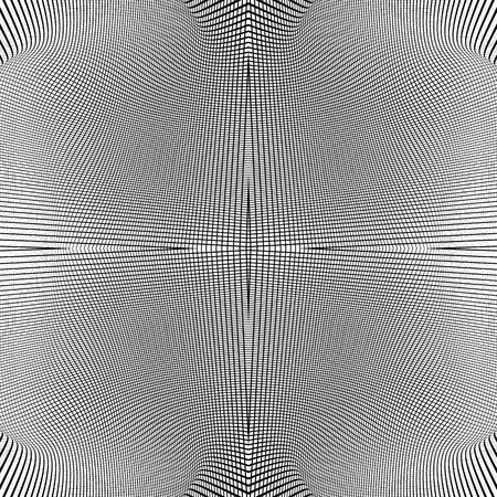 intersecting: Grid of dynamic lines. Seamlessly repeatable mesh pattern. Distorted, warped cellular, reticulated background. Illustration