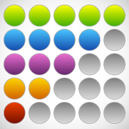 metre: Progress, step, phase indicators. Simple 5-step progress bars.