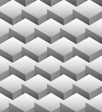 volumetric: Grayscale repeatable pattern made of isometric cubes