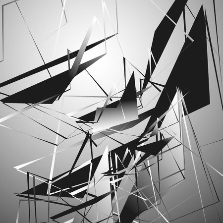 harsh: Edgy monochrome illustration with geometric shapes. Abstract geometric art. Illustration