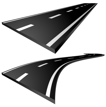three points: 3d roads. Straight and curving roads isolated on white. Illustration