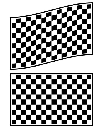 motorsports: Checkered racing flag elements isolated on white.