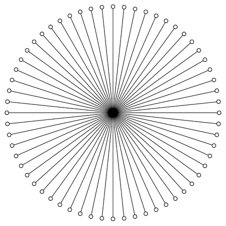 Radial circular lines with dots. Radiating lines. Abstract geometric element. Illustration