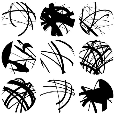 Set of squiggle, squiggly line circles. 9 different variation. Abstract geometric, monochrome illustration