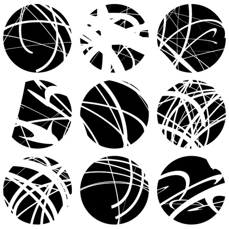 intersecting: Set of squiggle, squiggly line circles. 9 different variation. Abstract geometric, monochrome illustration