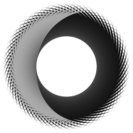 rotating: Circular, cyclic spiral, vortex element. Grayscale rotating shape. Abstract  illustration of a swirl, twirl motif.
