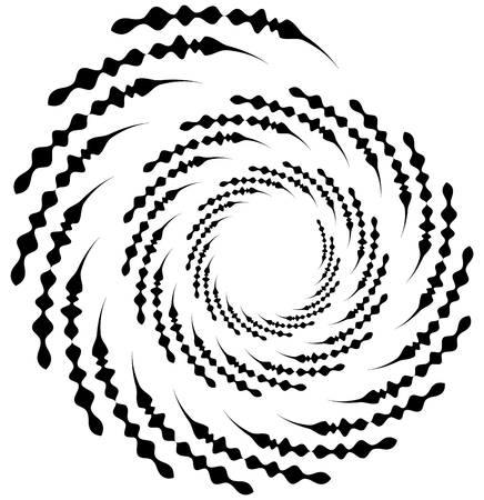 Spiral element. Concentric swirling shape with lines rotating inwards. Helix, volute illustration.