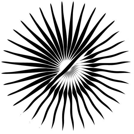 Radial, radiating lines. Asymmetrical geometric element. Circular, bursting lines Illustration