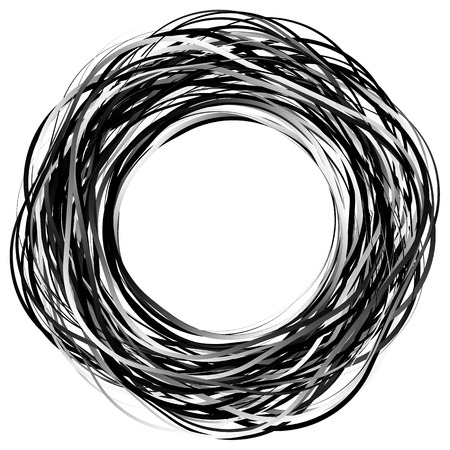 Random scribble circles. Concentric circles in a hand drawn style. Abstract circular element.