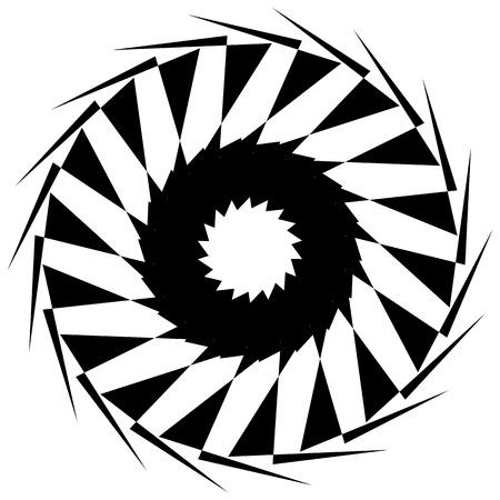 revolve: Circular geometric shape. Abstract monochrome spiral element.
