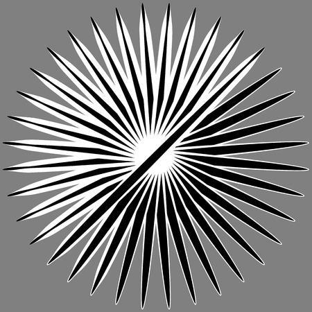 asymmetrical: Radial, radiating lines. Asymmetrical geometric element. Circular, bursting lines Illustration