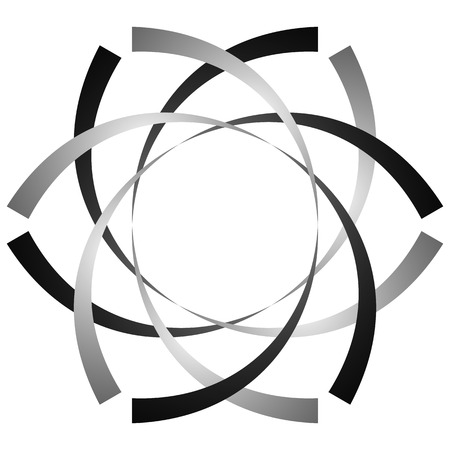 distort: Circular, cyclic spiral, vortex element. Grayscale rotating shape. Abstract  illustration of a swirl, twirl motif.