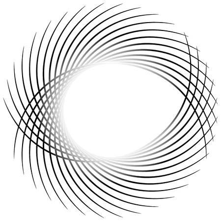 Dynamic irregular lines forming a circle element. Geometric shape made of bent lines